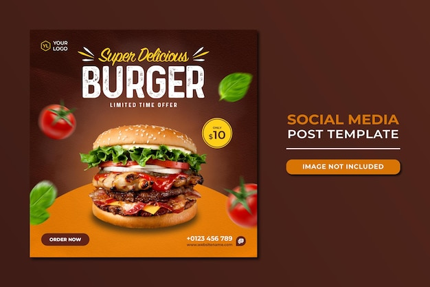 Food social media promotion and instagram banner post design template