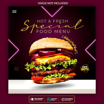 Food social media promotion and instagram neon banner post design template