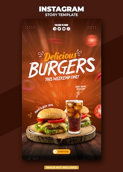 Food social media promotion and instagram story post design template