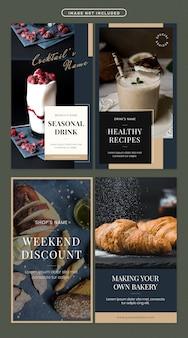 Food social media story set
