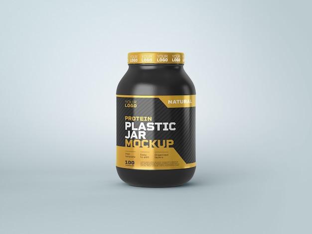 Food supplement plastic jar mockup
