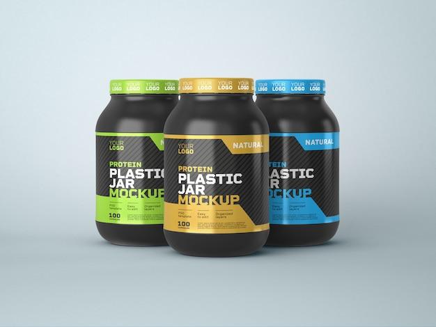 Мокап пластиковой банки с пищевой добавкой