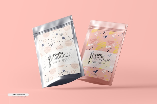 Food supplement pouch packaging mockup