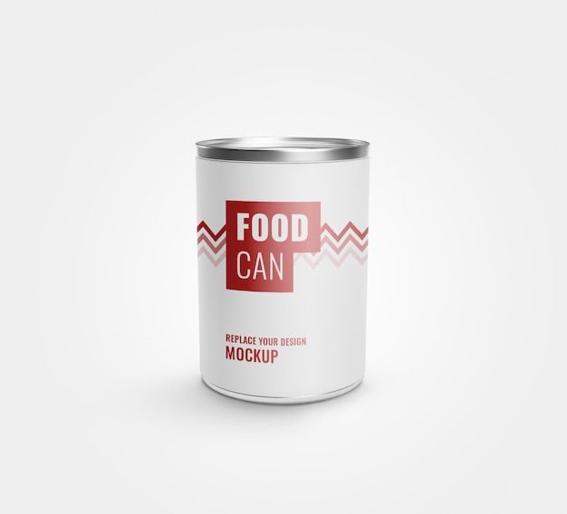 Food tin can label mockup realistic