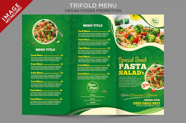 Food trifold menu promotion template