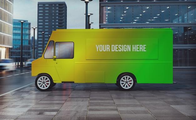 Продовольственный грузовик припаркован на улице 3d-рендеринг макета