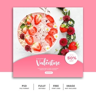 Food valentine banner social media post instagram pink cake strawberry