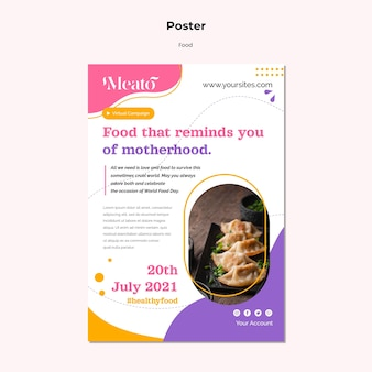 Food vertical print template Free Psd