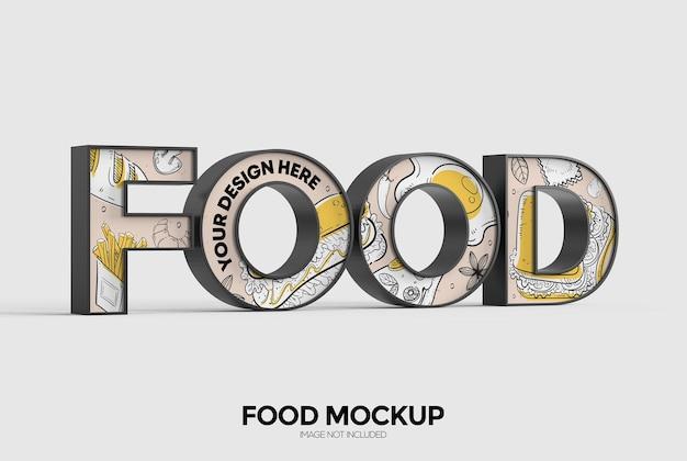 Food word sign mockup for advertising or branding