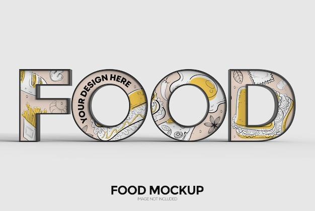 Макет знака слова еды для рекламы или брендинга