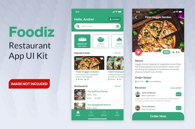 Foodiz restaurant app ui kit