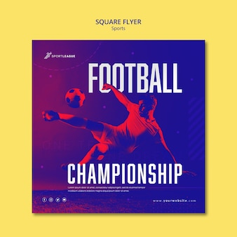 Football championship square flyer template