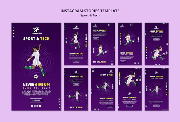 Football girl instagram stories template