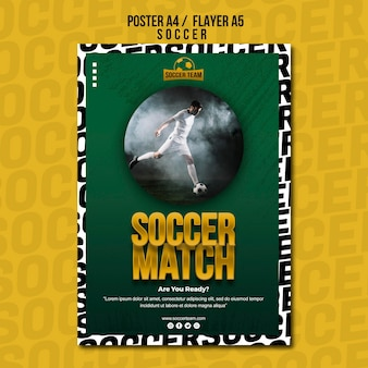 サッカーマッチスクールオブサッカーポスターテンプレート