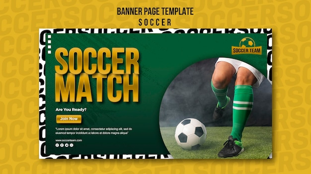 Football match school of soccer banner template