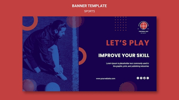 Football player horizontal banner template with photo
