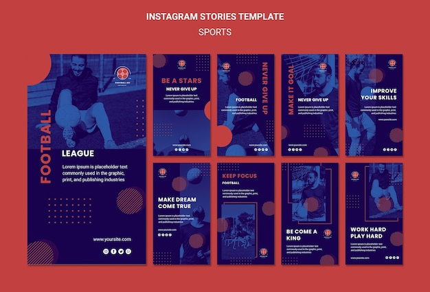 Football player instagram stories template