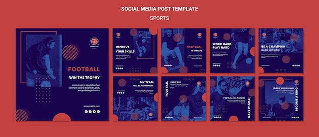 Football player social media posts template
