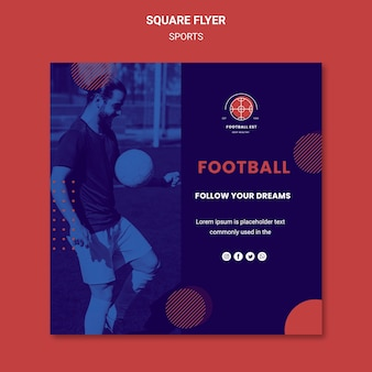 Football player square flyer template with photo