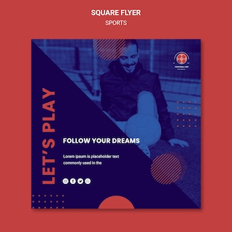 Football player square flyer template