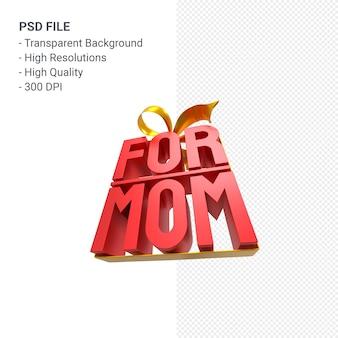 Для мамы с бантом и лентой 3d-рендеринг изолированы