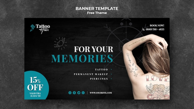 Для ваших воспоминаний шаблон татуировки баннер Бесплатные Psd