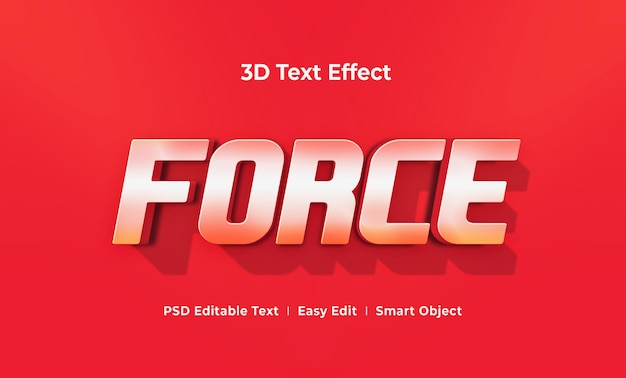 Force 3d text effect mockup template