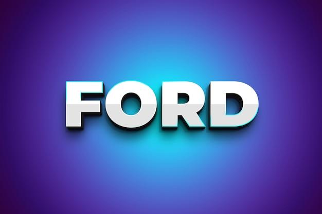 Форд 3d серебристый текст в стиле эффект