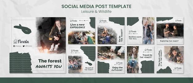 Modello di post sui social media da campeggio nella foresta