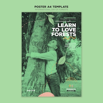 Forest day flyer template