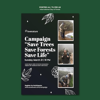 Forest day poster template