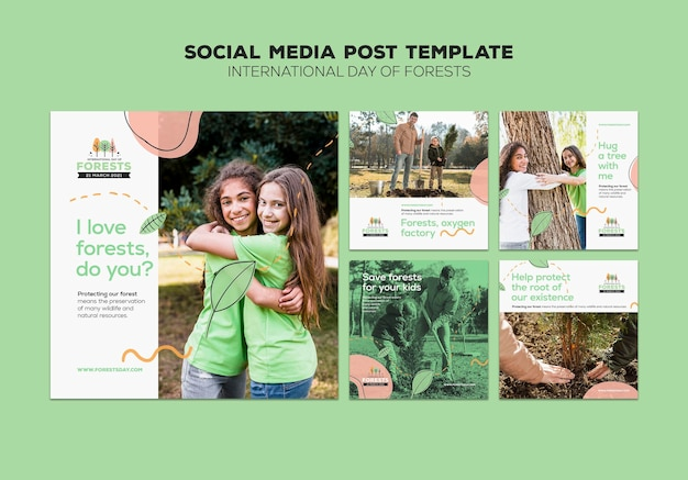 Forest day social media posts template