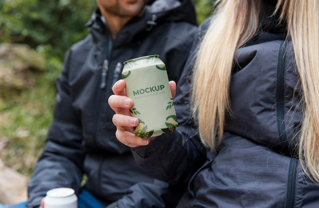 Forest hikers with can mockup