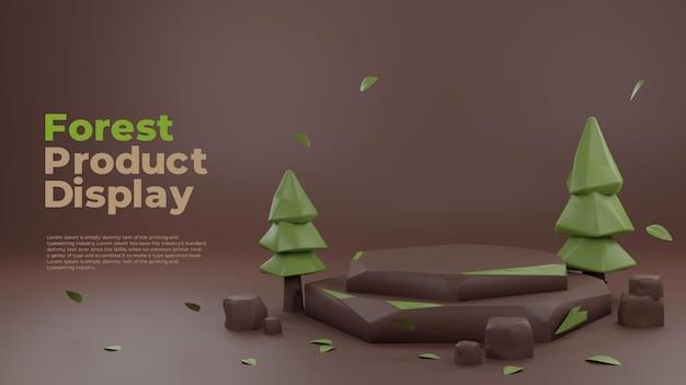 Display promozionale del prodotto sul podio realistico 3d di forest nature clay