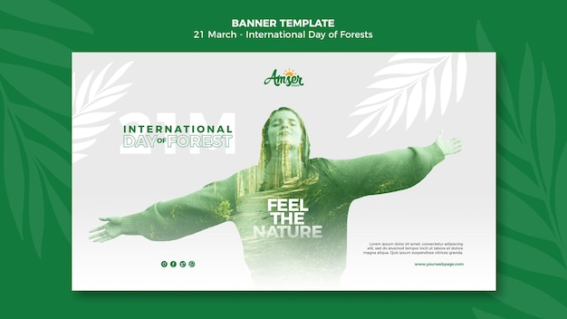Forests day banner template with photo