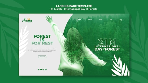 Forests day landing page template with photo
