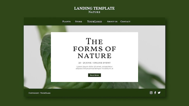 Forms of nature event landing page