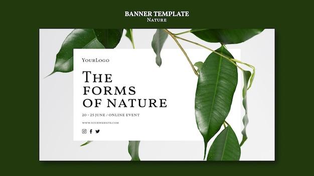 Modello di banner per eventi online di forme di natura