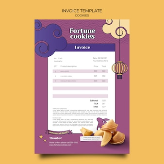 Fortune cookies invoice template