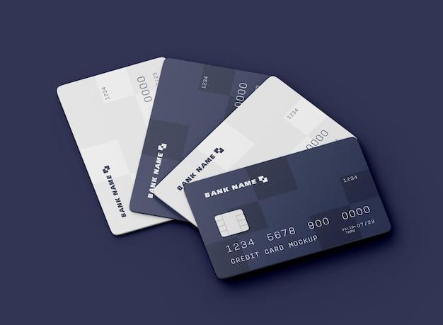 Мокап четырех кредитных карт