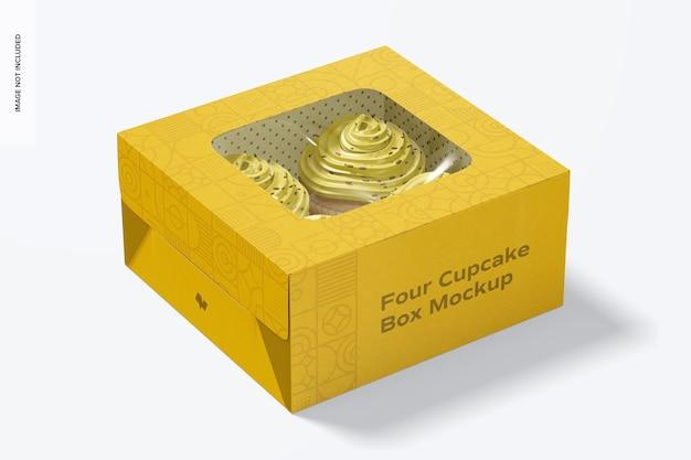 4つのカップケーキボックスのモックアップ、クローズ