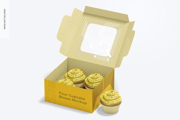 Мокап коробки с четырьмя кексами, открыт Premium Psd