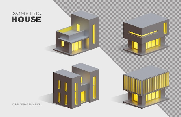 Four isometric 3d rendering isolated elements of box houses