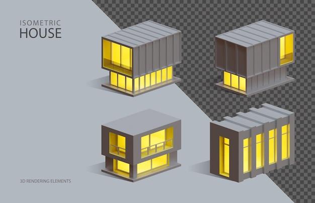 Четыре изометрических 3d визуализации изолированных элементов коробчатых домов