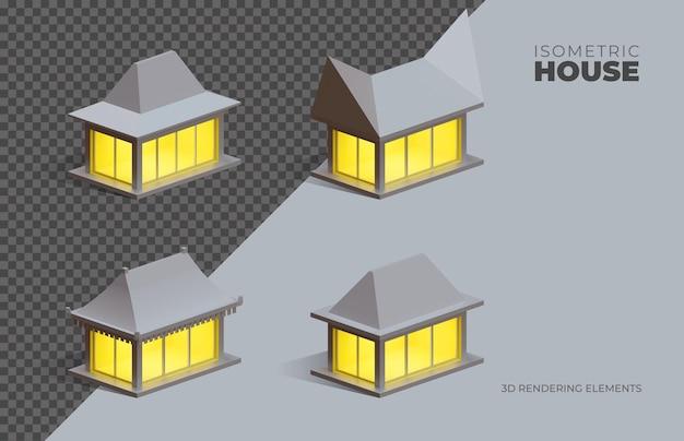 Четыре изометрические 3d-рендеринга изолированные элементы домов