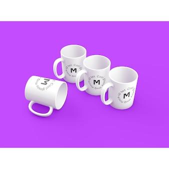 Four mugs on purple background mock up