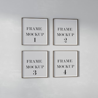 Four square frames mockup on the wall
