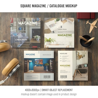 Four square magazine or catalogue mockups with still life