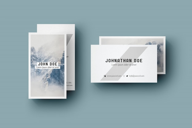 Four vertical business card mock up