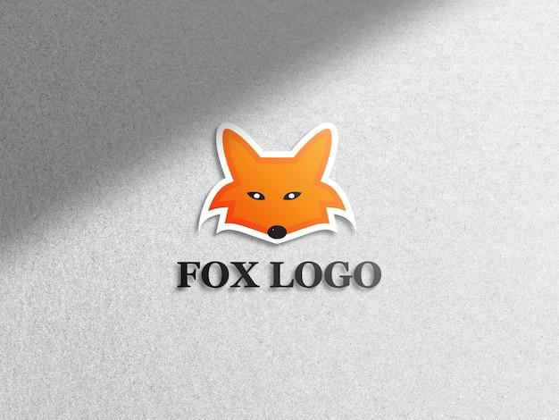 Fox logo mockup on white background
